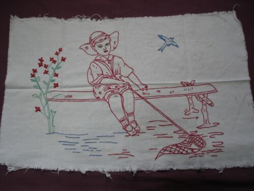 Beautiful Vintage Hand Embroidered Tapestry 57cm/36cm(22''x 14'')  #1986