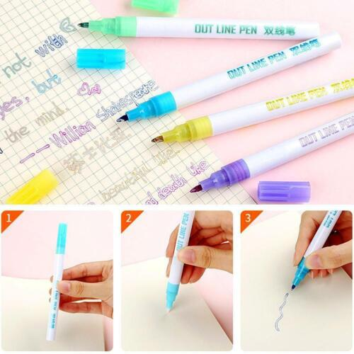 12*dream Colors Gift Card Writing Drawing Pen Double Line Outline Pen Stationery