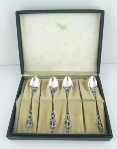 NORWEGIAN Theodor Olsen Sterling Silver Demitasse Spoons Box Set of 4