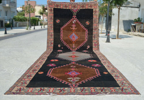 5x15 ft Rug Hand Knotted Area Rug Turkish Tribal Large Runner Rug 5′5″x14′8″