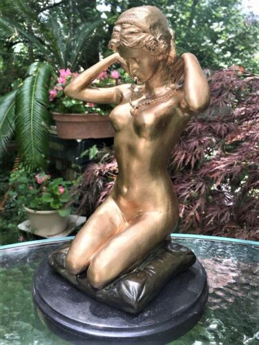 SIGNED GILDED  BRONZE SCULPTURE ART NOUVEAU HANDCRAFTED STATUE ON MARBLE  BASE