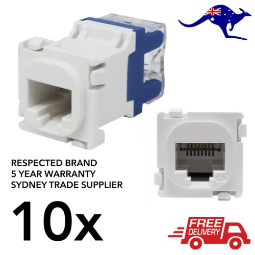 10x Clipsal Compatible Style CAT6 RJ45 8P8C Network Data Jack Mech Insert