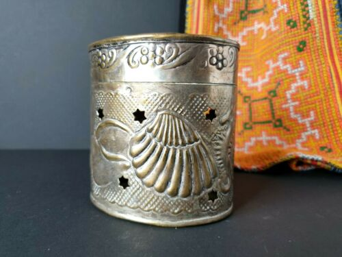 Old Middle Eastern Soap Container in Silver Plated Brass, a Beautiful collection