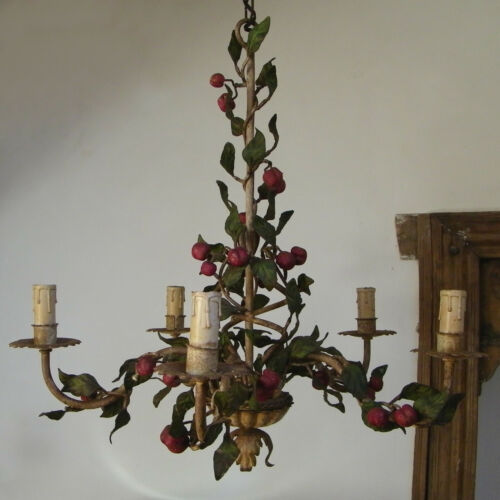 ANTIQUE FLORENTINE ITALIAN TOLE CHANDELIER CEILING LIGHT 5 ARMS FRUITS CHERRIES