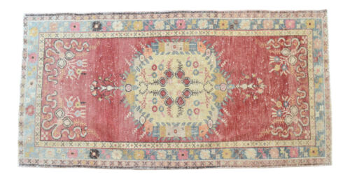 Vintage Oushak Rug Hand Knotted Faded Distressed Fashion Area Rug 3′2″ x 6′3″