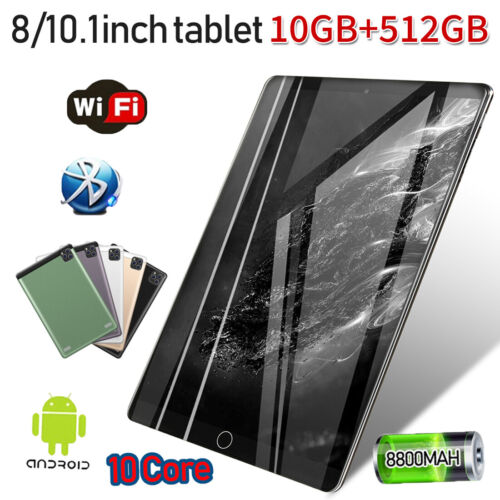 """Android 9.0 10 Core WiFi GPS Tablet Bluetooth 10.1"""" 10+512GB HD 2560* 1600 Game"""