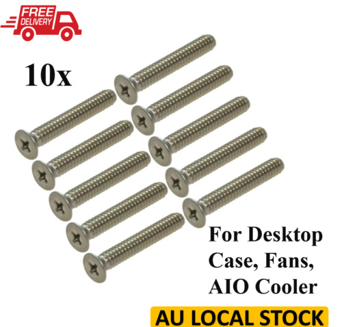 10x PC CASE 30mm Stainless Steel Screw For Cooling Fan / Radiator / AIO Cooler