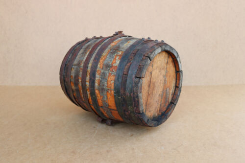 Old Antique Primitive Wooden Wood Barrel Canteen Keg Cask Pail Wine Early 20th
