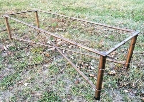 VINTAGE MID CENTURY FAUX BAMBOO METAL COFFEE TABLE
