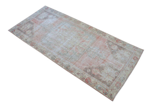 4x8 Rug Vintage Hand Made Distressed Area Rug Low Pile Oushak Rug 3′7″ x 7′11″