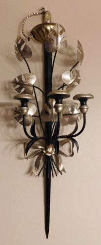Vintage Italian Sconce Tole Black Silver Sword Wall Candle Holder 1950s