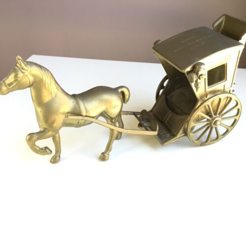 Vintage Brass Sculpture Horse with Carriage Coach Figurine #544