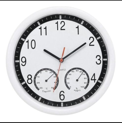 250mm diameter Clock -Thermometer -Hygrometer High Accuracy  In White In a Box