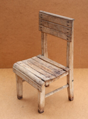 Antique Primitive Wooden Wood Chair Child's Milking Stool Seat Bench Early 20th.
