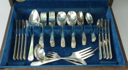 49 PC Deauville Oneida Community Plate Silverplate Flatware Set Deco 1929 K Mono