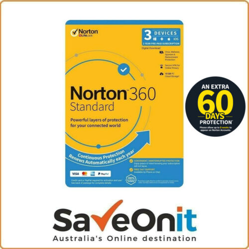 Norton 360 Standard 3 devices 1 Year digital Email License Key + (2 month free)