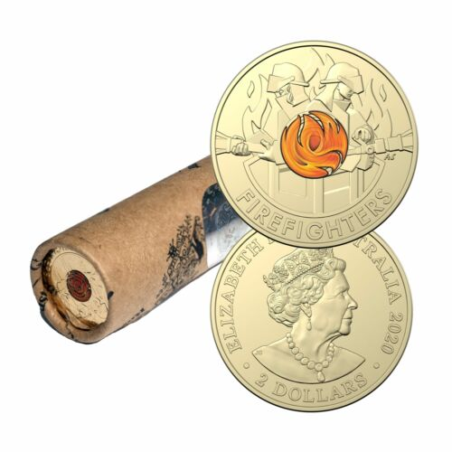2020 $2 Australia's Firefighters Coloured Coins in Mint Roll - AlBr <br/> Official RAM Roll FREE Express Post