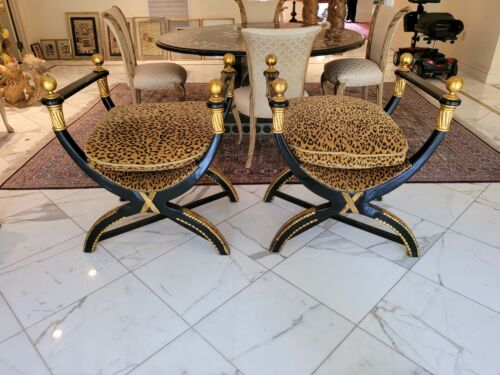 VINTAGE PAIR OF GILDED NEOCLASSICAL BENCHES W LEOPARD SEATS