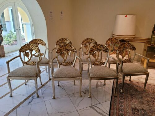 EIGHT VINTAGE 70'S ITALIAN SILVER AND GOLD GILT FLORAL BACK DINING CHAIRS