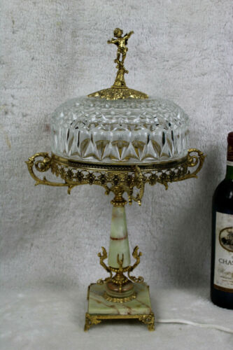 French vintage 1960 Brass caryatids putti angel crystal glass table lamp onyx