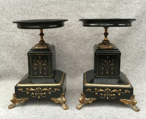 Heavy antique pair of Napoleon III cups bowls 19th century bronze and marble