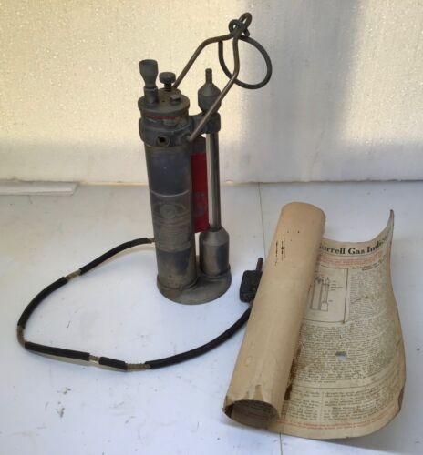 1915 antique BURRELL brass MINE GAS INDICATOR Miners old Zeppelin Blimp Airship