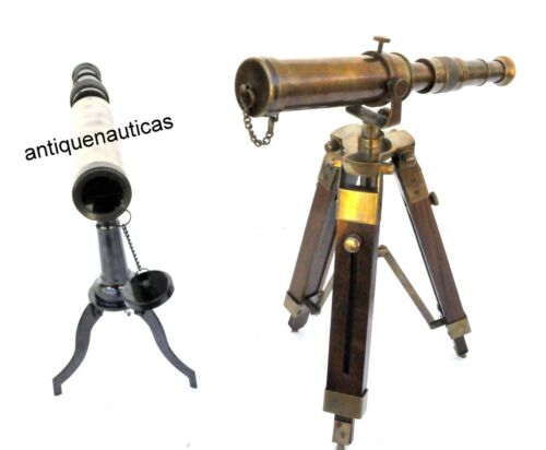 Antique SET OF 2 Brass Desk TELESCOPE With Wooden Tripod Stand Handmade Gift