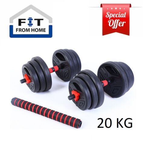 20KG 2 in 1 Adjustable Dumbbell Set Barbell Set Home GYM Weights IN STOCK <br/> Fast Dispatch in 1 Business Day. Pick up also Available