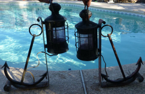 2 Brass Perkins Marine Lanterns SHIP Light NAUTICAL Anchors Purple GLASS Boat