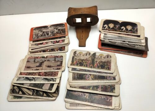 Vintage Wooden View-Master Stereoscope (For Parts Only) Includes 39 Images