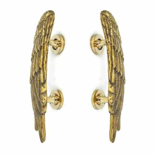 "2 POLISHED small ANGEL WINGS 9.1/2 "" hollow soild 100% brass  door pull"