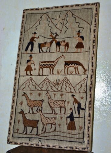 """Spanish Hand Wool Embroidered Textile Panel Wall hanging Signed """" Escolastico Q"""""""
