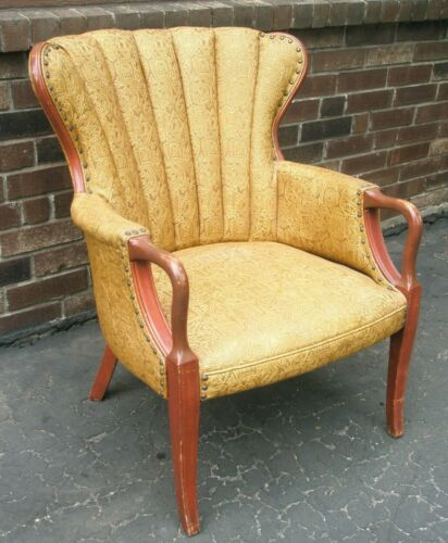 Vintage Antique Channel Back Arm Chair Gold Tone Fabric Nail Heads Wood Accents