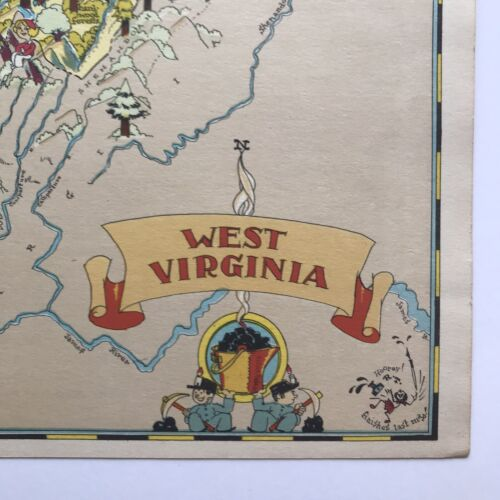 Ruth Taylor ORIGINAL Cartoon Map WEST VIRGINIA 1935 Litho WHEELING Mountaineers