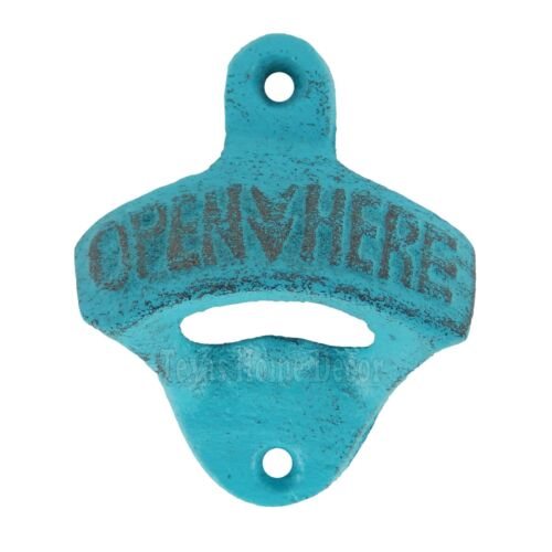 Rustic Turquoise OPEN HERE Beer Bottle Opener Cast Iron Wall Mounted