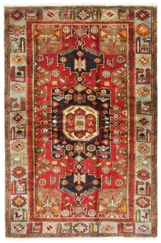 "Hand Knotted Red Blue Tribal Wool Nomadic Tarom Oriental Rug 4'5"" x 7'2"""