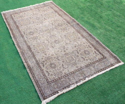 Turkish Rug 45''x79'' Hand Knotted Color Transition Gray Vintage Rug 117x203cm