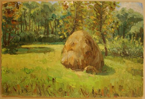 Russian Ukrainian Soviet Oil Painting Impressionism forest haycock sunny day