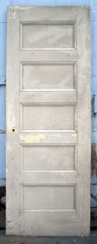 "27""x74"" Antique Vintage SOLID Wood Wooden Interior Closet Pantry Door 5 Panels"