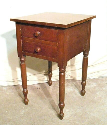 ANTIQUE 19th CENTURY SHERATON CHERRY TWO DRAWER STAND