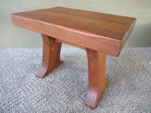 """Vintage Foot Stool Stand Primitive Pine Wood Pegged 11"""" Tall x 14"""" Long, Country"""