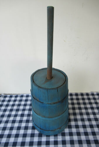 "Antique Butter Churn Cedar Wood Vintage Primitive, Dasher, Lid, 26"" Tall, Paint"