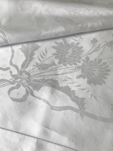 Antique Linen Damask Small Tablecloth Floral Bouquets Ribbons Bows Hemstitch