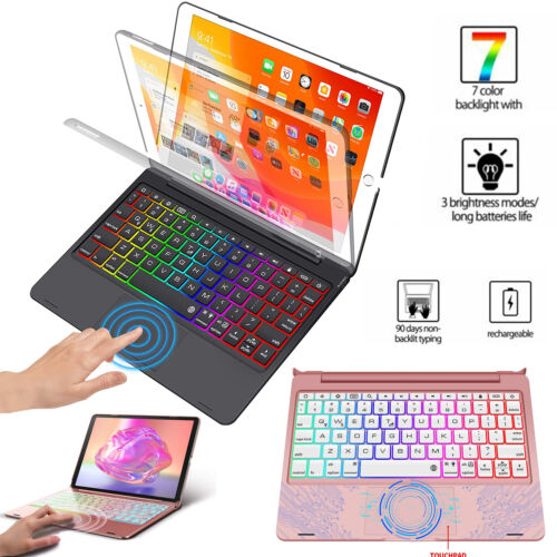 for Apple iPad 8th 2020 ipad 7th 2019 Case Backlit touchpad keyboard Stand Cover