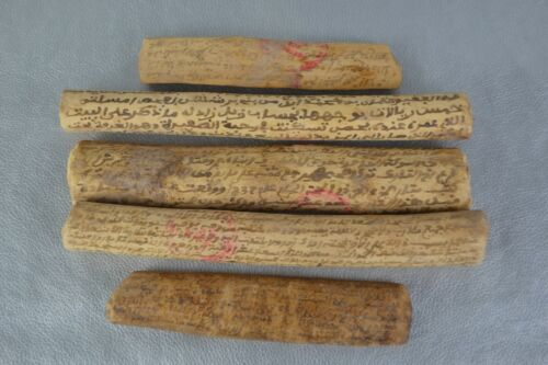 islamic 19th Acacia Wooden Manuscript Tribal Document Contract Weeding Property