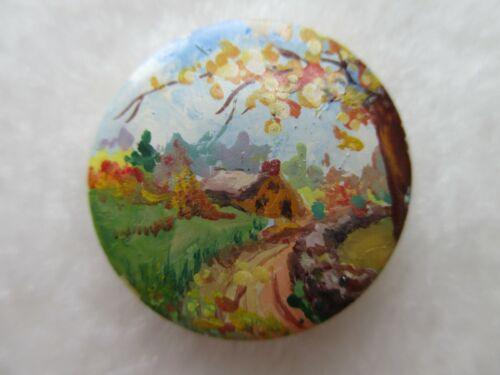 *ANTIQUE~SCARCE AWESOME HANDPAINTED COUNTRY SCENE on CELLULOID/BAKELITE BUTTON