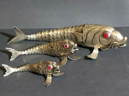 3 SPANISH  SILVER PLATED ALPACA SET OF ARTICULATED FISH RED GLASS EYES FIGURES