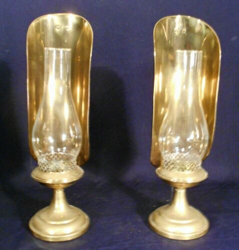 PAIR MID CENTURY BRASS CANDLE MANTLE LIGHTS OR WALL SCONCES