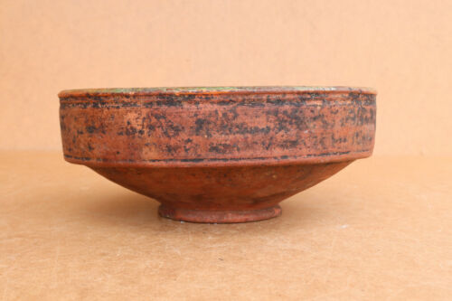 Old Antique Primitive Redware Clay Plate Dish Bowl Cup Mug Painted about 1920's