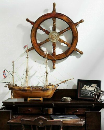 Brass Decorative Vintage Wooden And Ship Wheel 24 Inch Home Decoration Gifts